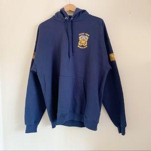 Hanes Fox Navy Blue Graphic Hoodie Jacket Pullover